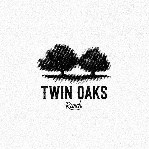 Engraved logo with the title 'Twin Oaks Ranch'