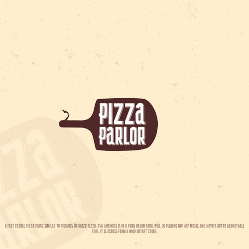 Paddle logo with the title 'Logo for Pizza Parlor'