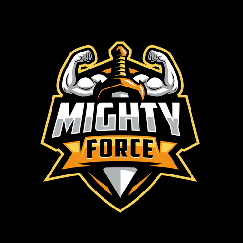 Muscle logo with the title 'Mighty Force Logo'