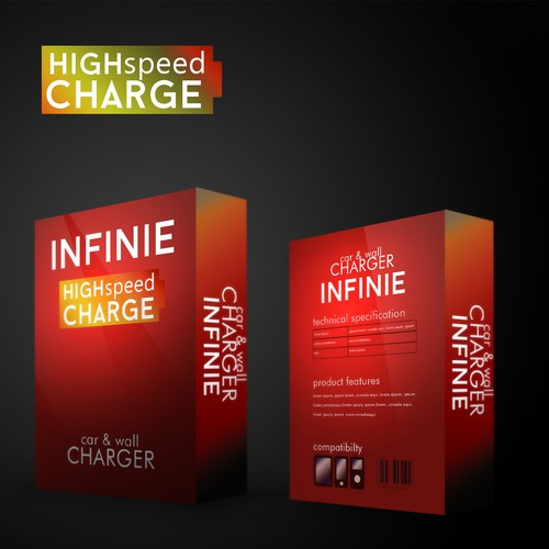 Charger design with the title 'Create an outstanding and cool package design for power banks&chargers[used for smart phones,tablets'