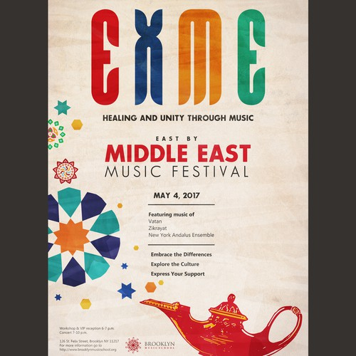 "Unity design with the title 'Eye-Catching Poster for ""East X Middle East Music Festival""'"