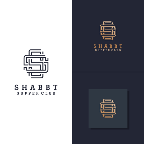 Rectangular logo with the title 'monogram logo for shabbt supper club'