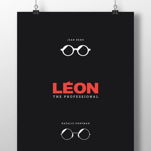 Sunglasses design with the title 'LEON The Professional Minimal poster'