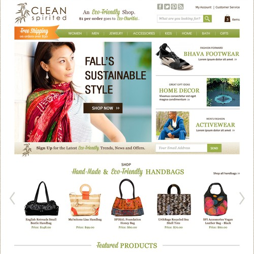 Homepage website with the title 'Created a Landing Page for Clean Spirited'