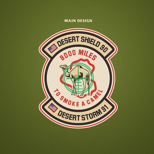 Badge t-shirt with the title 'Desert Storm Emblem'
