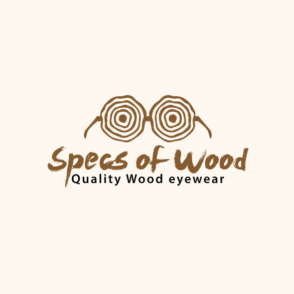 Glasses logo with the title 'Specs of Wood Logo'