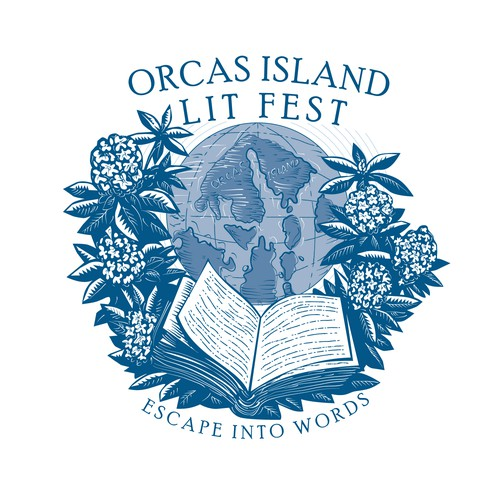 Woodcut logo with the title 'Orcas Island Lit Fest'