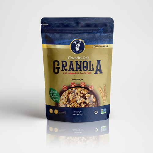 Gold packaging with the title 'Premium Granola Packaging Design'