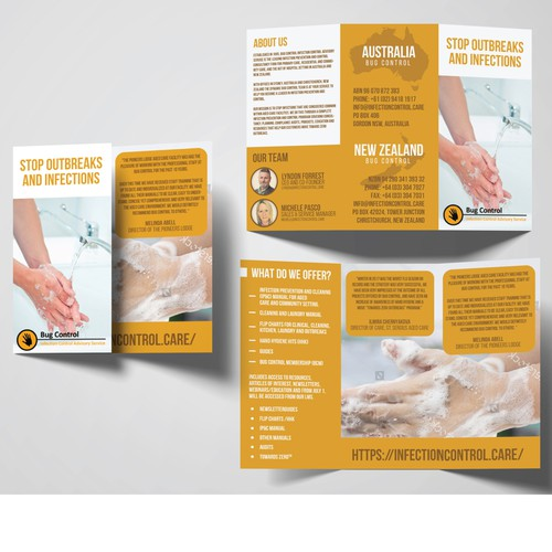 Tri-fold design with the title 'Tri-Fold Brochure for Bug Control Company'