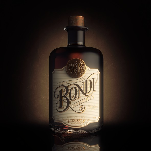 Sophisticated label with the title 'Bourbon Label Design'