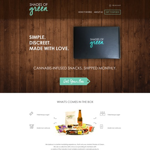"Overlay design with the title 'Create a glorious website for a ""budding"" subscription box service for Cannabis-Infused Snacks!'"
