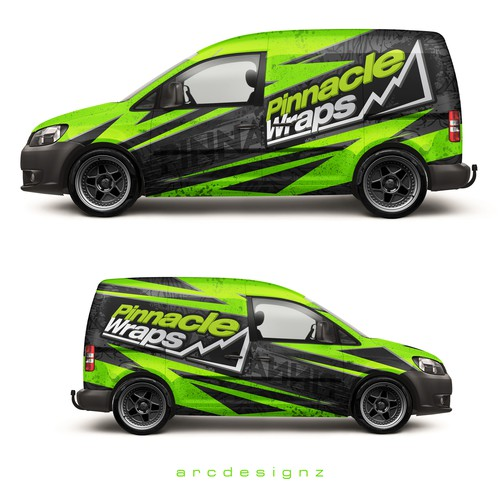 Vinyl wrap design with the title 'VW caddy wrap for pinnacle wraps'
