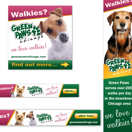 Purple and green design with the title 'Banner ad designs for dog walking service'