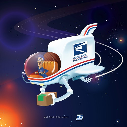 Toy artwork with the title 'USPS mailman of the future concept'