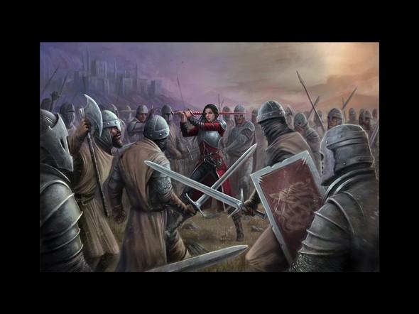 Female warrior design with the title 'battle artwork'