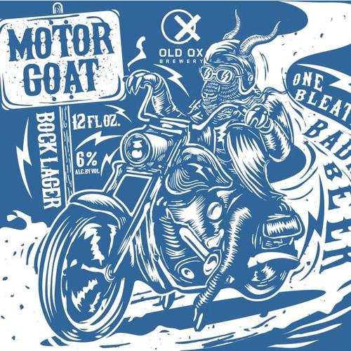 Motorcycle design with the title 'Vintage Biker Beer Label'