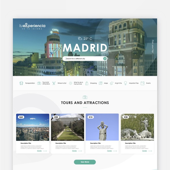 Tourism website with the title 'Travelling Website Design'