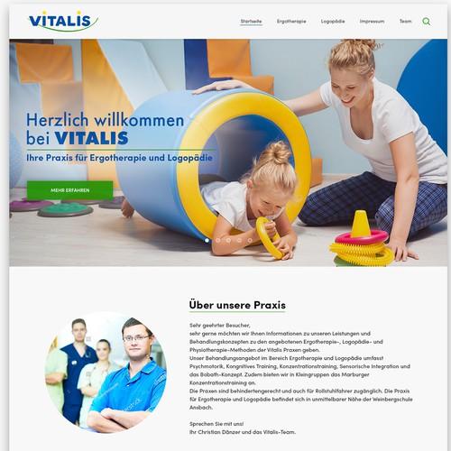 Therapeutic design with the title 'Website redesign for Vitalis: Praxis für Ergotherapie und Logopädie '