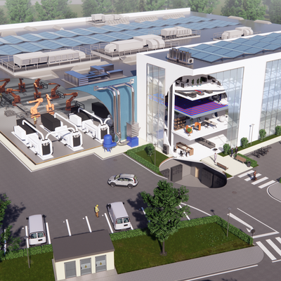 3D Technical illustration of Factory Building