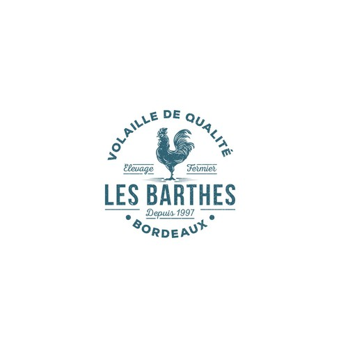 Rooster design with the title 'Winning Logo for Les Barthes'