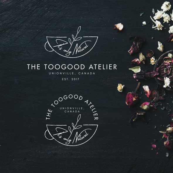 Tea leaf logo with the title 'Logo Design for Tea Atelier'