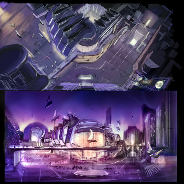 Cityscape artwork with the title 'City concept art'