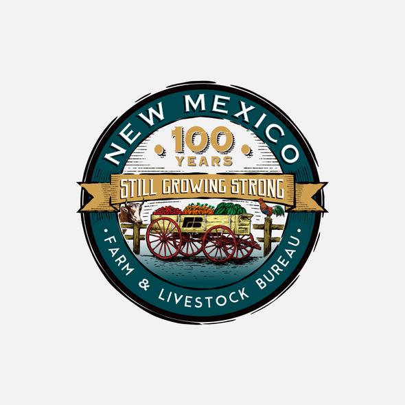 Livestock logo with the title '100th Anniversary Logo for New Mexico Farm & Livestock Bureau'