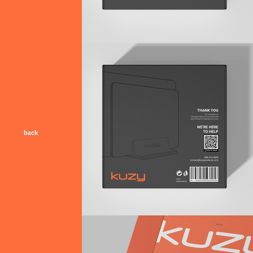 Brand packaging with the title 'KUZY box design'