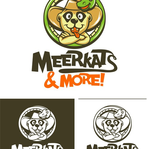 Python logo with the title 'MEERKATS SNAKE VECTOR ILLUSTRATION'