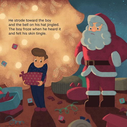 "Illustrative artwork with the title 'Children's book illustration for ""The Boy Who Couldn't Wait for Christmas""'"