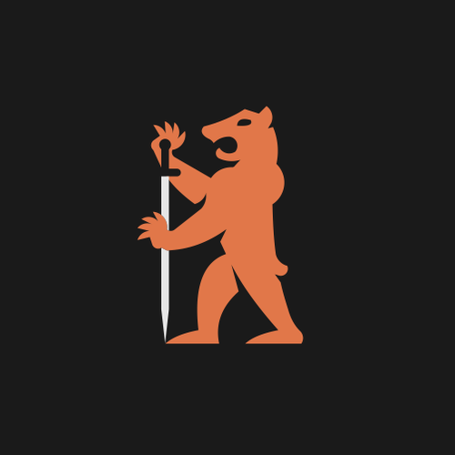 Orange and black design with the title 'Bear for men's cosmetic produtcts'