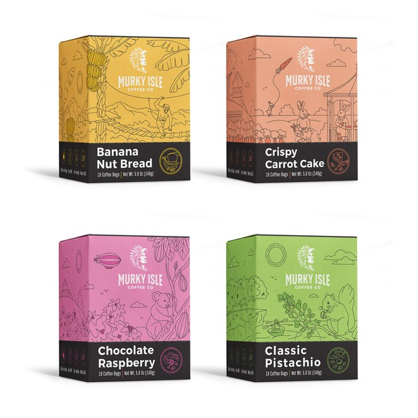 New packaging with the title 'Set of illustrative packages for coffee company'