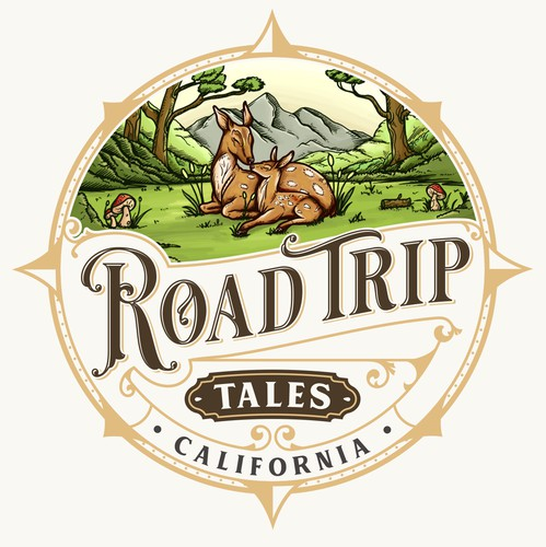 Forest design with the title 'Road Trip Tales'
