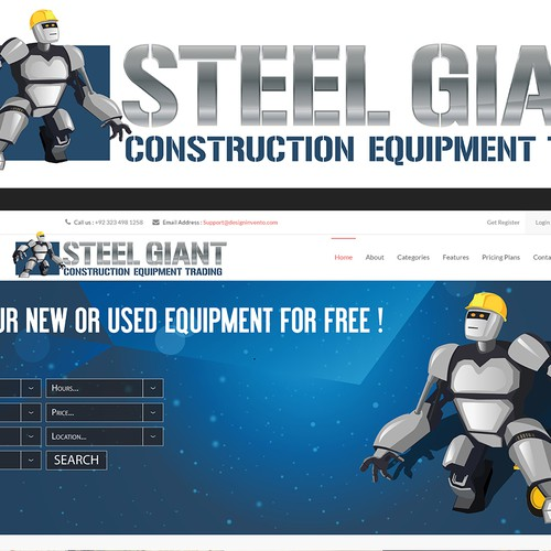 Robot logo with the title 'Robot logo/mascot needed for construction equipment trader website.'
