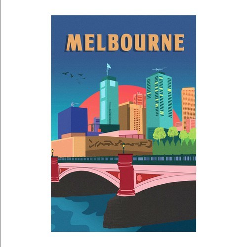 Skyscraper design with the title 'panoramic view of Melbourne city'