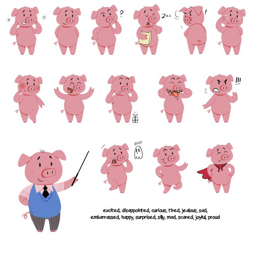 Cartoonish artwork with the title 'pig character emotions'