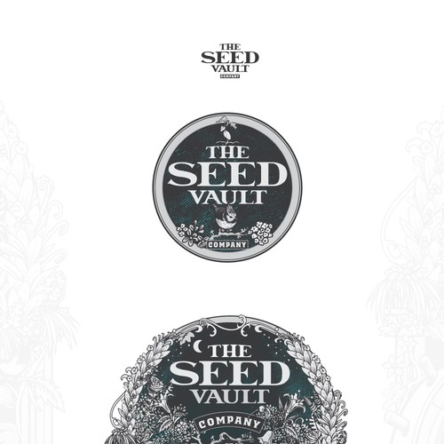 Plant design with the title 'The seed Vault Company'