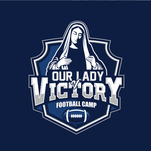 Football logo with the title 'Bold logo for a Catholic Football Camp'