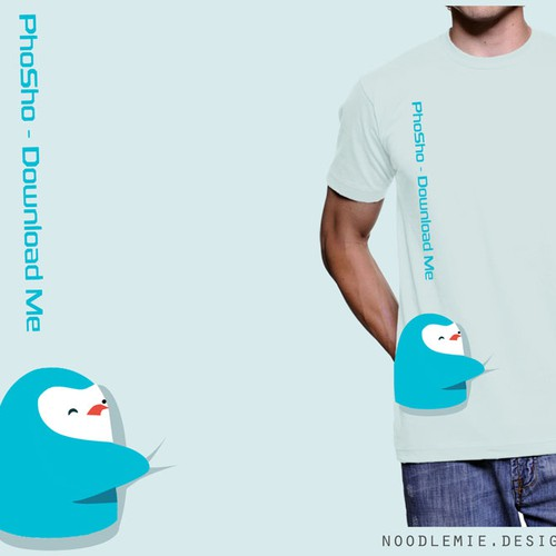 Penguin design with the title 'This Awesome Little Penguin Guy Needs A Shirt! Help Us Out!'