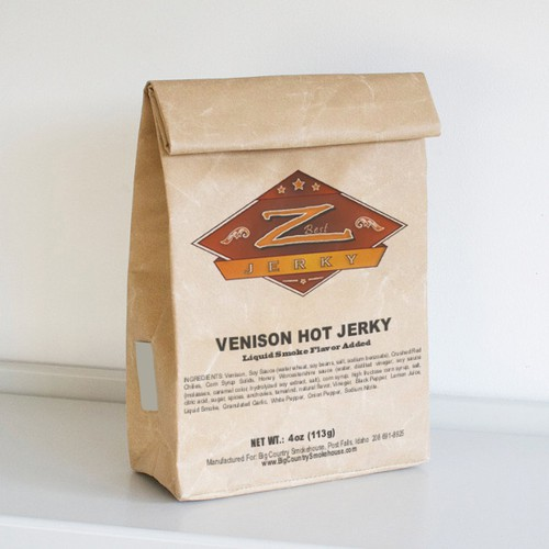 Jerky logo with the title 'Logo design for jerky product labels'