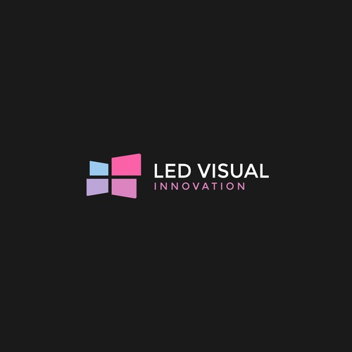 Screen logo with the title 'Clean minimalist logo for LED brand'