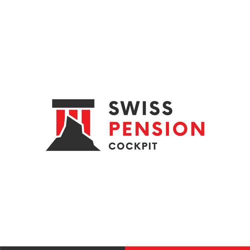 Pillar design with the title 'Swiss Pension Cockpit Logo Design'