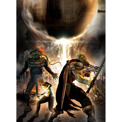 Warrior book cover with the title 'Fantasy battle scene'
