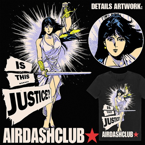 Manga design with the title 'Justice Lady'