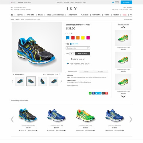 Sports website with the title 'Create a modern website design for JKY'