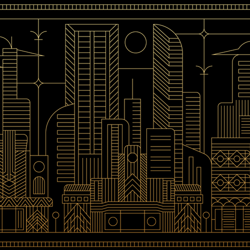Packaging artwork with the title 'Artdeco Cityscape '