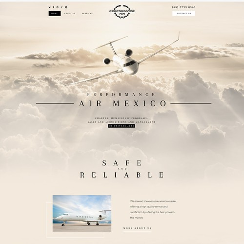 Luxury website with the title 'Performance Air Mexico'