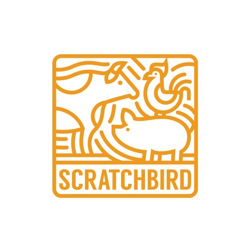 Line art logo with the title 'SCRATCHBIRD'