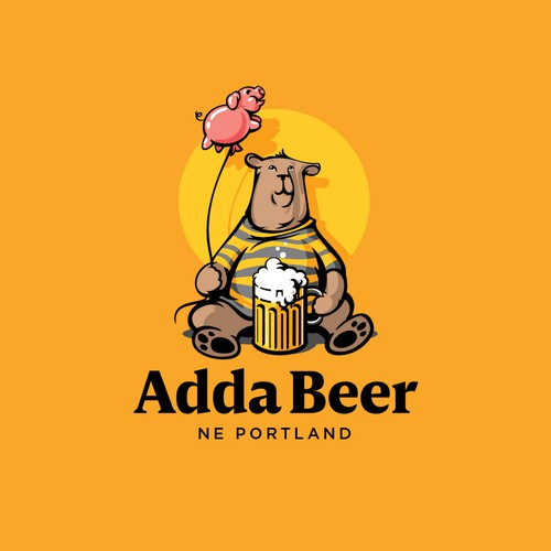 Pig logo with the title 'Bear, beer and pink pig balloon'