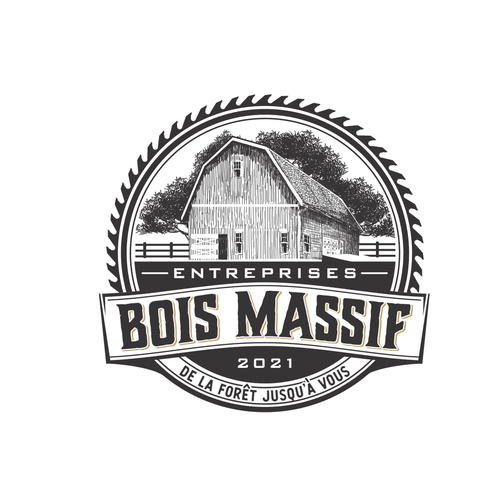 Barn design with the title 'bois massif'